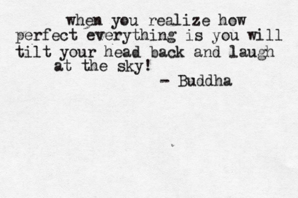 when you realize how perfect everything is you will tilt your head back and laugh at the sky! - Buddha
