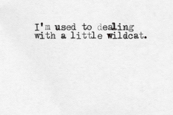 I' m used to dealing with a little wildcat.
