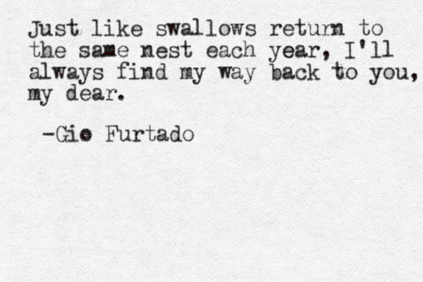 Just like swallows return to the same nest each year e , I'll always find my way back to you, my dear. -Gio Furtado