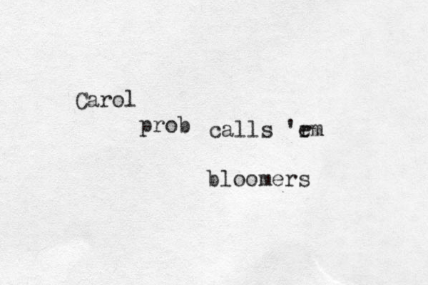 bloomers Carol prob calls 'r em