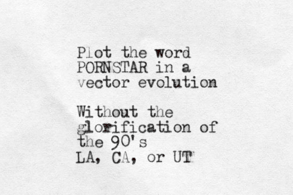 Plot the word PORNSTAR in a vector evolution Without the glorification of the 90's LA, CA, or UT