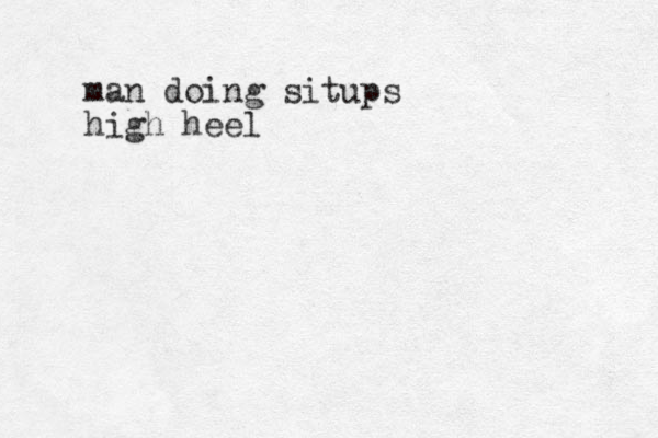 man doing situps high heel