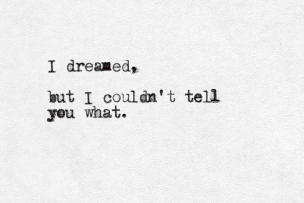 I dreamed, but I couldn't tell you what.