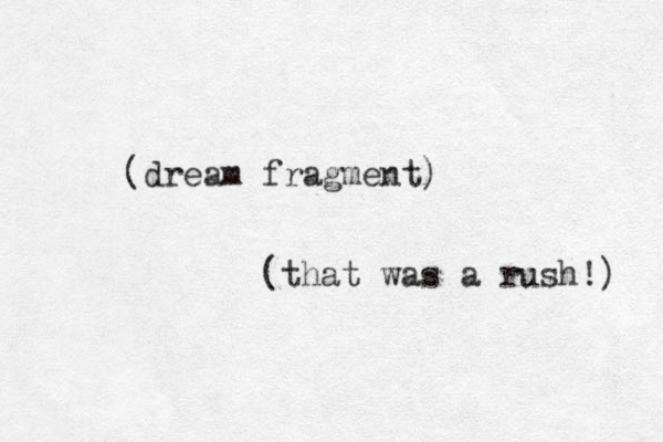 (dream fragment) (that was a rush!)