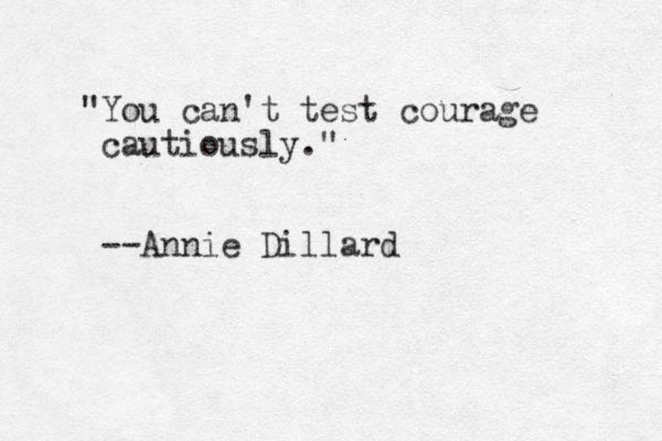 """""""You can't test courage cautiously."""" --Annie Dillard"""