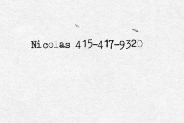 Nicolas 415-417-9320